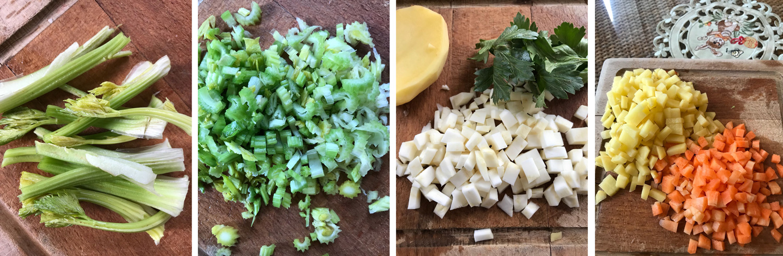 Kereviz çorbası için tüm malzemeleri küp küp doğrayın.